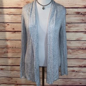 Express Heathered Gray Open Cardigan